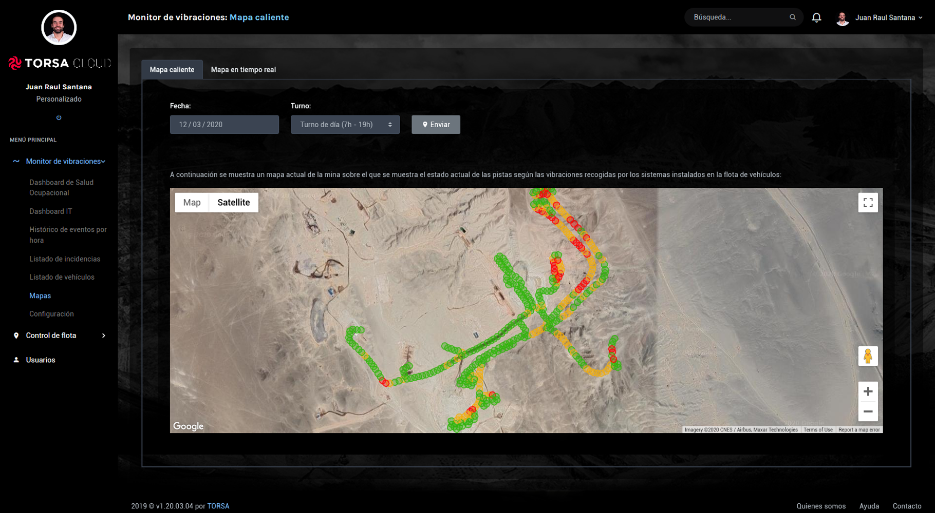 Mapa caliente monitor vibraciones pistas TORSA